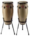 Stagg CWM-N-1A 10 Zoll +11 Zoll Congaset Holzkessel mit 2 Korbstile Ständer
