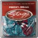 Stagg PBOX1-96 100 Stück Display-Box mit Zelluloid Standard-Plektren verschiedene Farben .96 mm