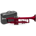 Stagg 77-TCB/RD B-Trompete, Edelstahl Ventile, rot, im ABS-Koffer