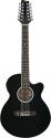 Stagg SW206CE/12-BK Elektroakustische Folk-Gitarre mit Cutaway