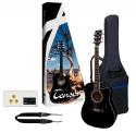 GEWApure 4/4 E-Akusikgitarre Starter-Set mit einer D1-CE Gitarre in schwarz inkl. Zubehör