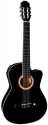 Tenson 4/4 Elektro-Akustik Konzertgitarre in schwarz mit Fichtendecke