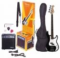 Tenson 4/4 E-Bass Starter-Set mit schwarzer Gitarre inkl. Zubehör