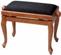 Gewa Klavierbank in Kirsche matt mit schwarzer Stoffauflage mit Chippendale Beinen