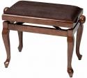 Gewa Klavierbank in Walnuss poliert mit brauner Stoffauflage mit Chippendale Beinen