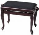 Gewa Klavierbank in Rosenholz matt, schwarze Stoffauflage mit Chippendale Beinen