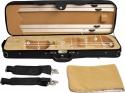 Steinbach 4/4 Geigenkoffer Rechteckmodell schwarz beige mit Rucksackgarnitur