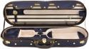 Steinbach 4/4 Geigenkoffer mit abgerundeten Ecken dunkelblau/beige Zierborde