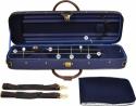 Steinbach 4/4 Geigenkoffer Rechteckmodell dunkelblau mit Zierborde und Rucksackgarnitur