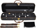 Steinbach 4/4 Geigenkoffer Rechteckmodell schwarz mit Zierborde und Rucksackgarnitur