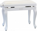 Steinbach Klavierbank in Weiß poliert mit Chippendale Beinen