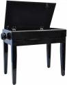 Steinbach Klavierbank mit Notenfach in Schwarz poliert mit schwarzem Stoff