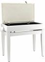 Steinbach Klavierbank mit Notenfach in Weiß matt weißer Stoff
