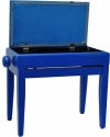 Steinbach Klavierbank mit Notenfach in blau poliert blauer Stoff