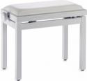 Stagg Klavierbank in Weiss poliert mit weißem Kunstlederbezug