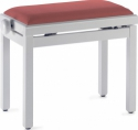 Stagg Klavierbank in Weiss poliert mit rotem Stoffbezug