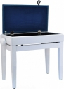 Steinbach Klavierbank mit Notenfach in Weiß poliert blauer Stoff
