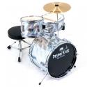 PLATIN Kinderschlagzeug DrumKids 3-teiliges 14 Zoll Junior- Schlagzeugset mit Becken, Hocker und Sticks, laser silver