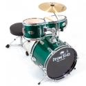 PLATIN Kinderschlagzeug DrumKids 3-teiliges 14 Zoll Junior- Schlagzeugset mit Becken, Hocker und Sticks, metallic green