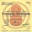 Nürnberger Künstler Saitensatz 4/4 Geige/Violine E-Saite Stahl Hartal umsponnen mittel