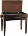 Steinbach Klavierbank mit Notenfach in Nuss dunkel matt mit braunem Stoffbezug