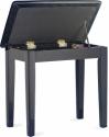 Stagg Klavierbank mit Notenfach in Schwarz poliert mit schwarzem Kunstleder