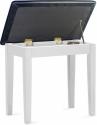 Stagg Klavierbank mit Notenfach in Weiß matt mit schwarzem Kunstleder