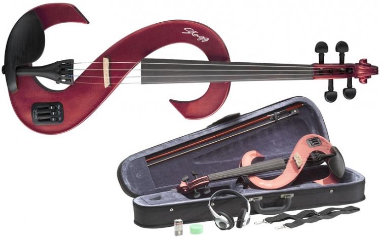 4//4 Silent Violinen Set e-Geige Stagg rot metallic