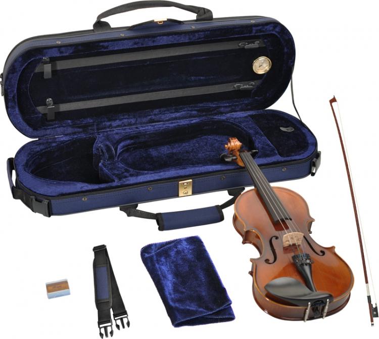 Geige Violine Kindergeige Schülergeige 1//2 Ebenholzgarnitur angeflammter Boden