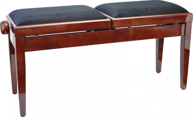 steinbach doppelklavierbank in mahagoni poliert schwarzer stoff doppelklavierbank pianobank. Black Bedroom Furniture Sets. Home Design Ideas