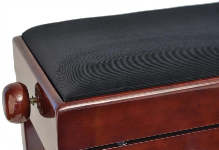 steinbach klavierbank mit notenfach in mahagoni poliert mit schwarzem stoff pianobank inkl. Black Bedroom Furniture Sets. Home Design Ideas