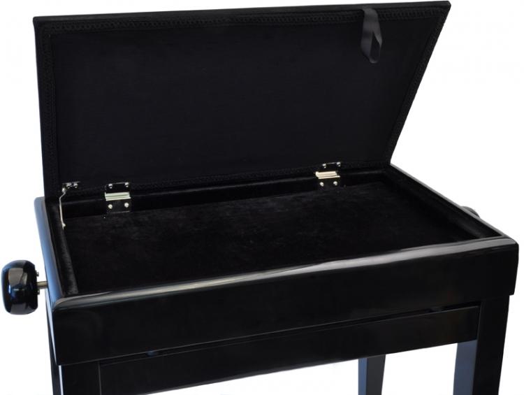 steinbach klavierbank mit notenfach in schwarz poliert mit schwarzem stoff pianobank inkl. Black Bedroom Furniture Sets. Home Design Ideas