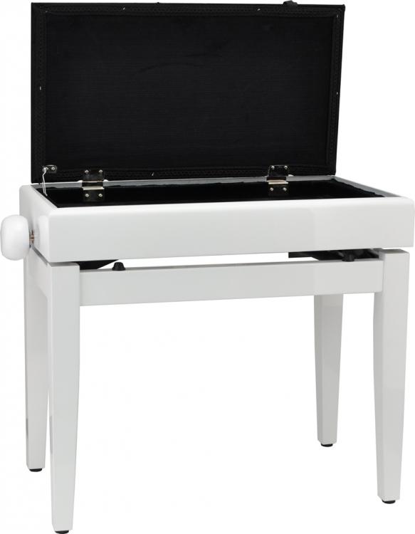 steinbach klavierbank mit notenfach in wei poliert schwarzer stoff pianobank mit notenfach. Black Bedroom Furniture Sets. Home Design Ideas